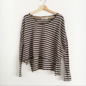 d5b5e8fd4d Free People Tops | Fp Beach Striped Long Sleeve Oversized Boxy Tee ...